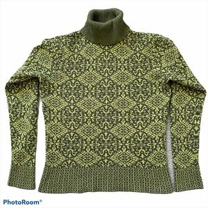 Talbots Women's Green Print Turtleneck Sweater S